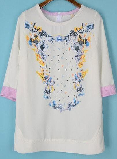 White Half Sleeve Floral Chiffon Loose Blouse