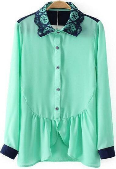 Green Long Sleeve Ruffle Chiffon Blouse