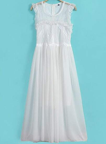 White Sleeveless Contrast Lace Pleated Chiffon Dress