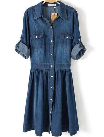 Blue Lapel Pockets Buttons Denim Dress