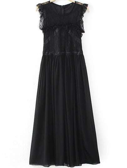 Black Sleeveless Contrast Lace Pleated Chiffon Dress