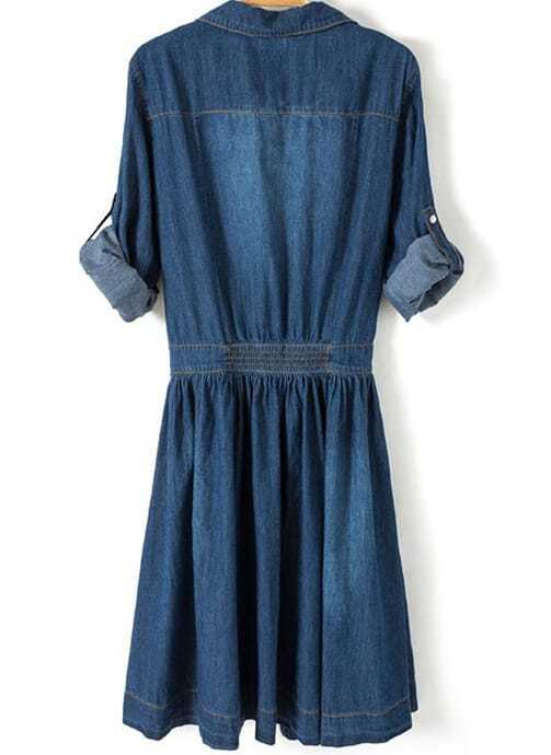 blue lapel pockets buttons denim dress sheinsheinside
