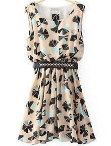 Beige Sleeveless Split Floral Pleated Dress