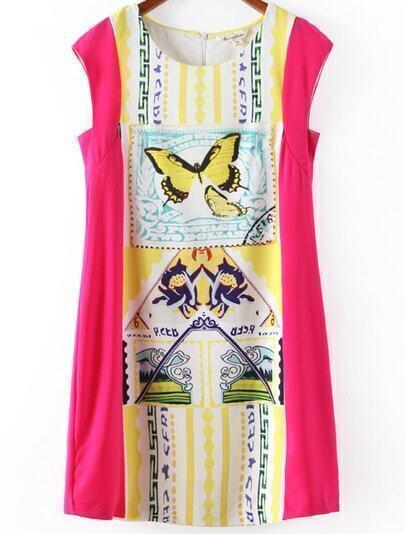 Rose Red Sleeveless Butterfly Print Chiffon Dress