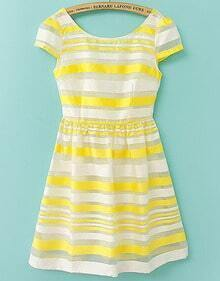 Yellow Short Sleeve Backless Striped Dress