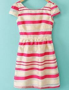 Rose Red Short Sleeve Backless Striped Dress