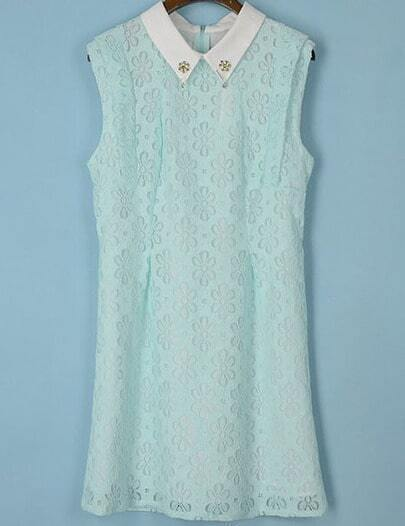 Green Sleeveless Bead Lapel Lace Dress