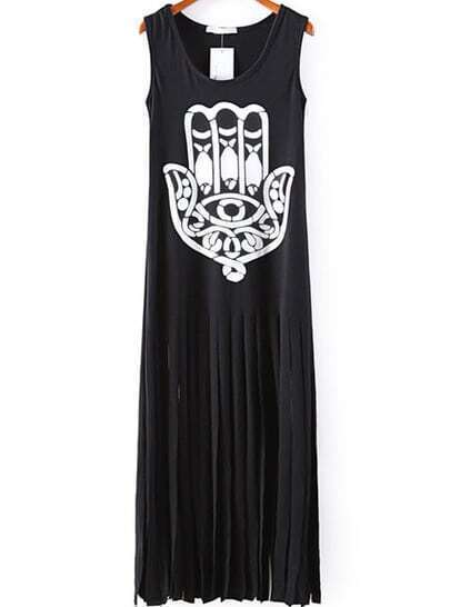 Black Sleeveless Eye Hand Print Tassel Dress