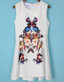 White Sleeveless Floral Butterfly Print Dress