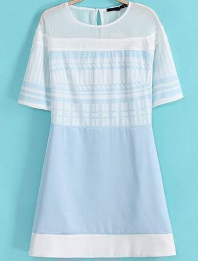Light Blue Short Sleeve Geometric Print Dress