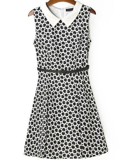 Black White Sleeveless Polka Dot Tank Dress