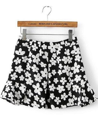 Black White Floral Ruffle Skirt