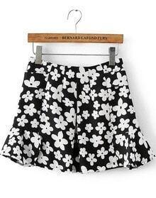 Black White Floral Ruffle Skirt