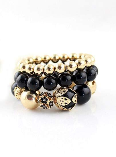 Gold Black Bead Three Layers Bracelet