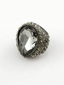 Black Gemstone Retro Silver Diamond Ring