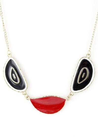 Red Black Glaze Gold Chain Necklace