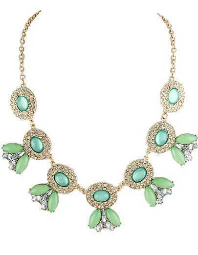 Green Gemstone Gold Diamond Chain Necklace