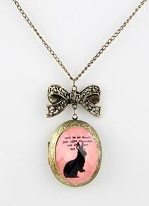 Retro Gold Rabbit Pattern Bow Necklace