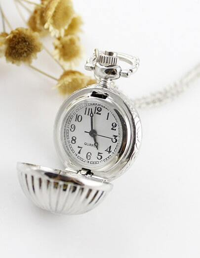 Silver Ball Watch Chain Necklace