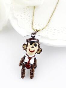 Gold Bead Glaze Monkey Necklace