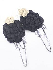 Black Knit Flower Chain Earrings