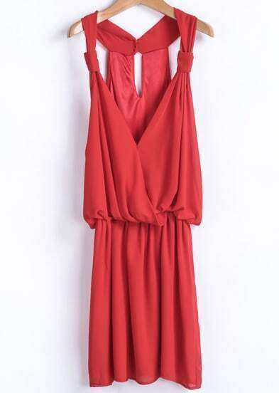 Red V Neck Loose Pleated Chiffon Dress