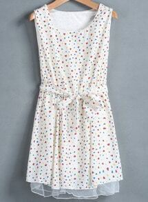 Apricot Sleeveless Heart Print Belt Dress