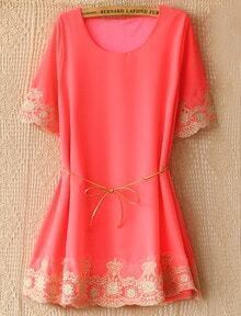 Pink Short Sleeve Lace Embroidery Belt Dress