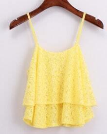 Yellow Spaghetti Strap Lace Vest