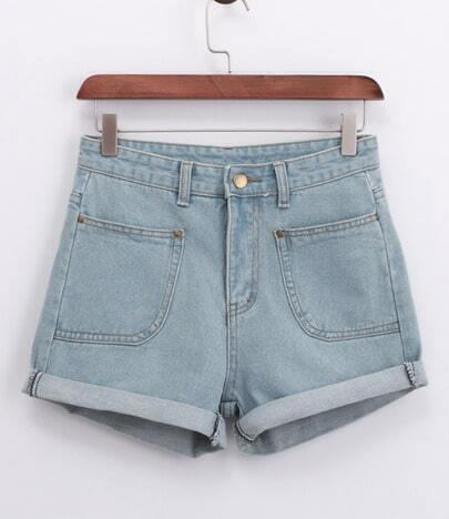 Blue Pockets Denim Shorts