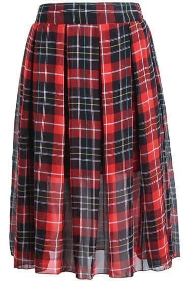 Red Vintage Plaid Pleated Chiffon Skirt
