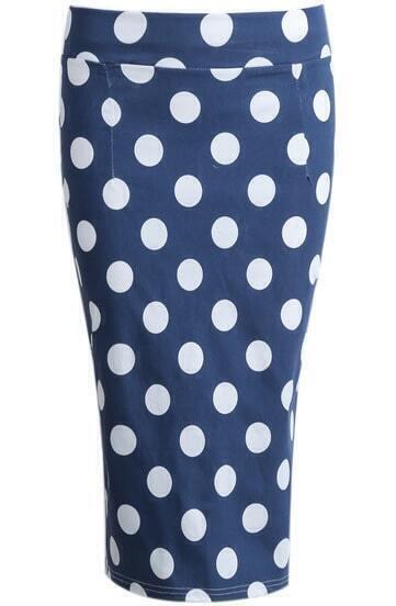Blue Polka Dot Split Bodycon Skirt
