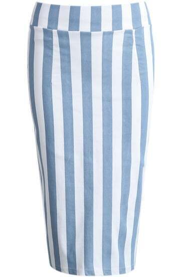 Blue White Vertical Stripe Split Bodycon Skirt