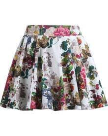 White Vintage Floral Pleated Mini Skirt