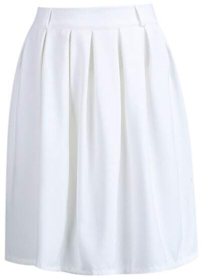 White Simple Design Pleated Skirt