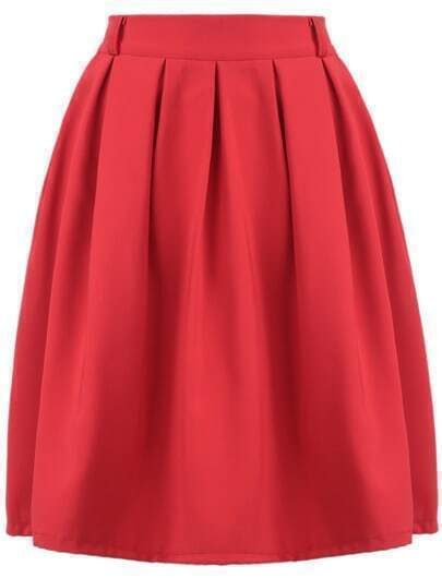 Red Simple Design Pleated Skirt