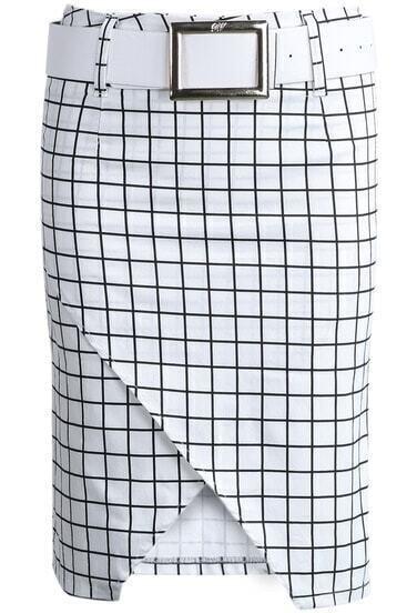 White Black Plaid Asymmetrical Bodycon Skirt
