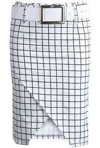 White Black Plaid Asymmetrical Bodycon Skirt
