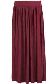 Red Pleated Knit Long Skirt
