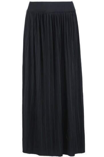 Black Pleated Knit Long Skirt
