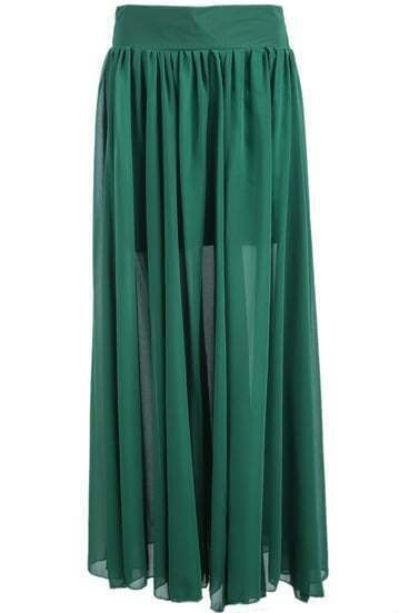 Green Simple Pleated Long Chiffon Skirt
