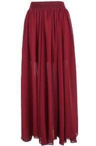 Red Simple Pleated Long Chiffon Skirt