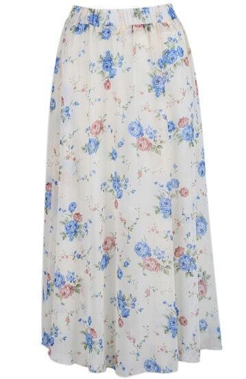 Apricot Vintage Floral Long Chiffon Skirt