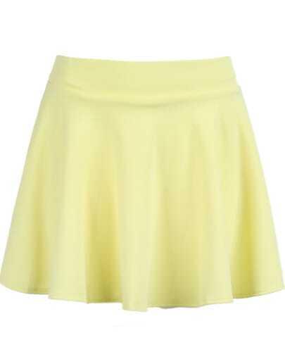 Yellow Simple Pleated Mini Skirt