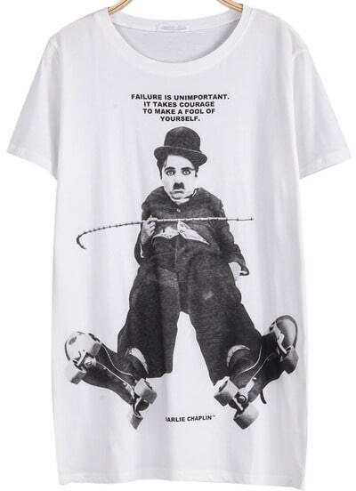 White Short Sleeve Letters Chaplin Print T-Shirt
