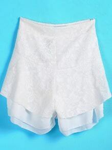 White Contrast Chiffon Embroidered Lace Shorts