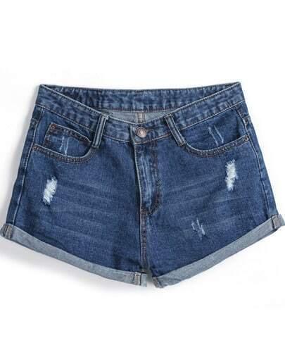 Navy Ripped Flange Denim Shorts