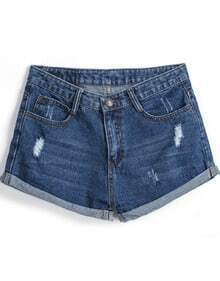 Navy Ripped Flange Denim Shorts