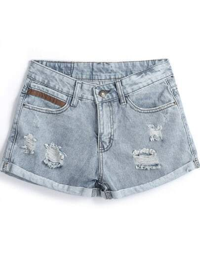 Light Blue Vintage Ripped Flange Denim Shorts
