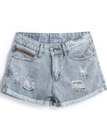 Light Blue Vintage Ripped Flange Denim Shorts